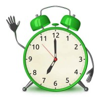 Green alarm clock waving hand